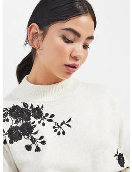 Petite Cream Contrast Embroidered Jumper by Miss Selfridge