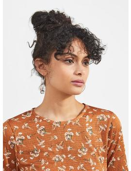 Rust Shirred Hem Short Sleeve Top by Miss Selfridge