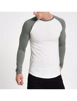 Wit Aansluitend T Shirt Met Lange Raglanmouwen by River Island