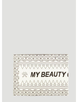 My Beauty Offends You Intarsia Knit Scarf In White by Gmb H
