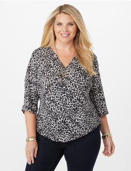 Plus Size Leopard Print Wrap Blouse by Dressbarn