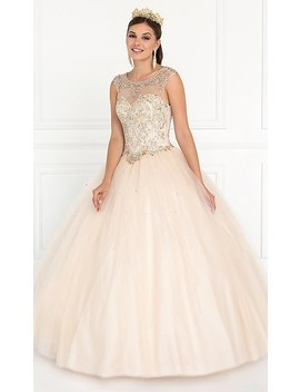 Illusion Sweetheart Sleeveless Quinceanera Gown by Promgirl