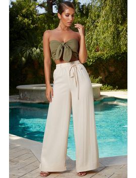 Draw To Attention Petite Wide Leg Linen Trousers In Ivory by Oh Polly