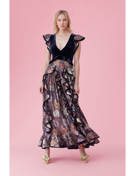 Glistening Rose Velvet Ruffle Dress by Rebecca Taylor