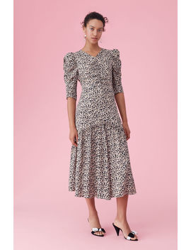 Leopard Print Silk Ruched Dress by Rebecca Taylor