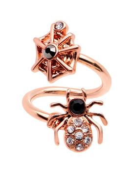 Clear Gem Rose Gold Pvd Spider Web Spiral Twister Belly Ring by Body Candy