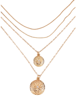 Layered Round Shape Pendant Necklace by Gamiss