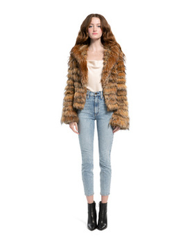 Nadia Hooded Fur Coat by Alice And Olivia