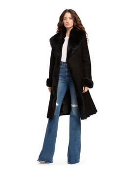 Jacks Black Shearling Long Coat by Alice And Olivia