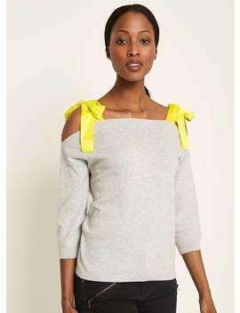 Grey & Lime Cold Shoulder Knit by Mint Velvet