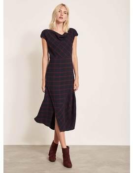 Ink Check Buttoned Hem Dress by Mint Velvet