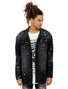 Mens Distressed Paint Splatter Turner Denim Jacket by True Religion