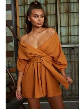Bets Are Off Bardot Mini Wrap Dress In Burnt Orange by Oh Polly