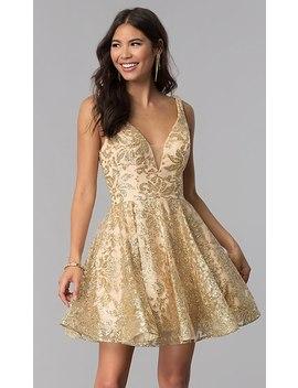 Jvnx By Jovani Gold Glitter Short Homecoming Dress by Jovani Gold Glitter Short Homecoming Dress