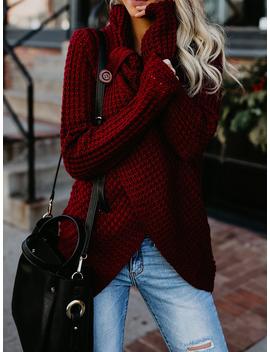 Burgundy High Neck Long Sleeve Chic Women Knit Sweater by Choies