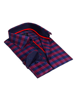 Solid Collar Oversized Plaid Button Up Shirt // Burgundy + Navy by Touch Of Modern