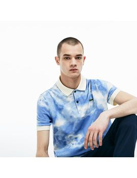 Men's Live Regular Fit Cloud Print Cotton Mini Piqué Polo by Lacoste