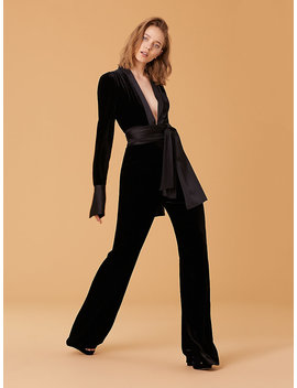 Velvet Sash Jumpsuit by Dvf
