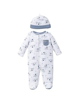 Little Me® 2 Piece Puppy Toile Footie And Hat Set In White/Blue by Buybuy Baby