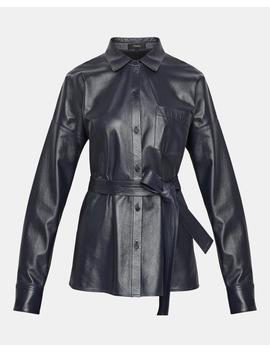 Paper Leather Drop Shoulder Shirt by Theory