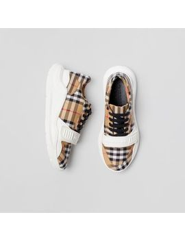 Vintage Check Cotton Sneakers by Burberry