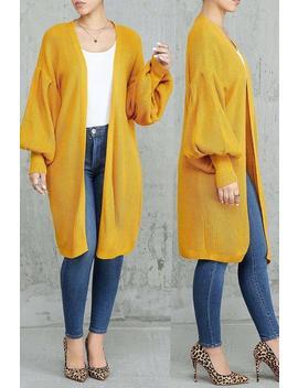 Roaso Trendy Lantern Sleeve Orange Blended Coat by Roaso