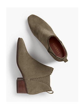 Dakota Suede Scallop Edge Ankle Boots by Talbots