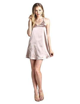 Ladies Fashion Satin Slip Dress Featuring Adjustable Cami Halter Dress, A V Neckline, And A Billowy Silhouette Id.33786e by 599 Fashion
