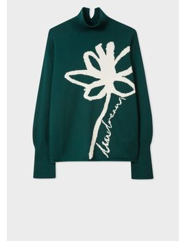 Women's Dark Green Lambswool 'floral' Intarsia Funnel Neck Sweater by Paul Smith