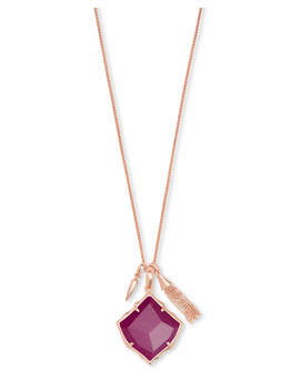 Arlet Rose Gold Pendant Necklace In Maroon Jade by Kendra Scott