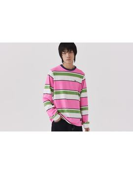 Lazy Oaf Pink &Amp; Green Stripey Long Sleeve T Shirt by Lazy Oaf