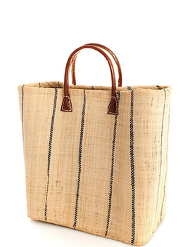 Natural Straw Black Striped Bag by Andy Liz Boutique, Los Angeles