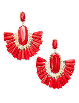 Cristina Gold Statement Earrings In Red Mother Of Pearl by Kendra Scott