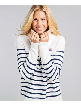 Striped Relaxed Funnel Neck Sweater Fleece Shep Shirt by Vineyard Vines