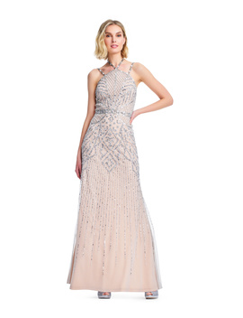 Adrianna Papell Stone Studded Beaded Gown With Strappy Neckline by Adrianna Papell