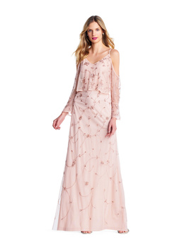 Adrianna Papell Floral Beaded Popover Gown With Cold Shoulder Bell Sleeves by Adrianna Papell