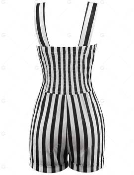 Striped Button Embellished Romper by Gamiss
