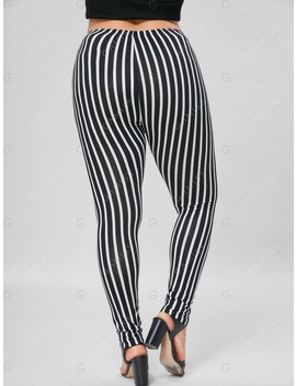 Plus Size Vertical Stripe Fitted Pants by Gamiss