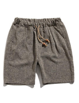 Mens Retro Knitted Elastic Waist Drawstring Breathable Casual Shorts by Newchic