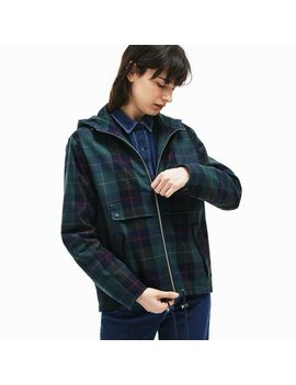 Women's Tartan Check Print Cotton Canvas Zippered Pea Coat by Lacoste