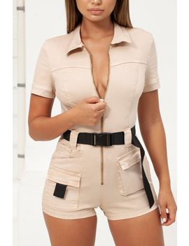 Hang Fire Belted Denim Playsuit In Beige by Oh Polly