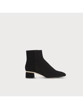 Noah Black Gold Suede Ankle Boots by L.K.Bennett