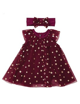 Baby Starters® Newborn 2 Piece Tulle Bodysuit Dress And Headband Set In Burgundy by Buybuy Baby