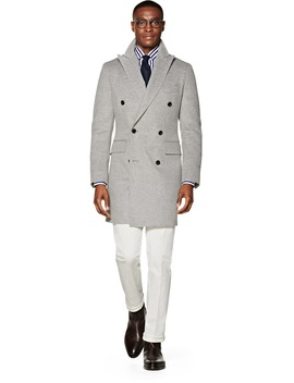 Light Grey Double Breasted Coat by Suitsupply