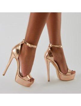 Flyin' Platform Heels In  Rose Gold by Public Desire