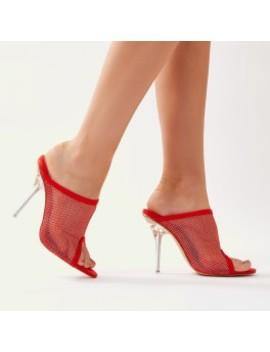 Goalz Perspex Heel Mules In Red by Public Desire