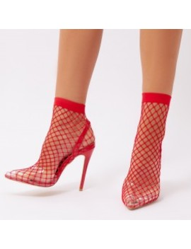Wink Perspex Fishnet Heels In Red by Public Desire