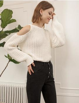 Ivory Cut Out Shoulder Sweater by Pixie Market