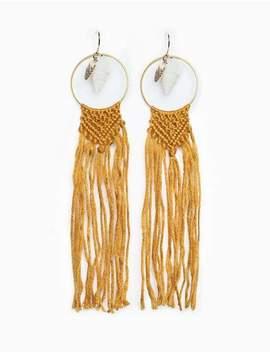Shell Fringe Chandelier Earrings by Pixie Market