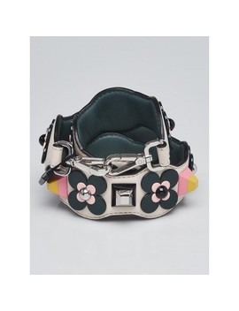 White/Green Leather And Plexiglas Flower Studded Strap You Shoulder Strap 8 Av077 by Fendi